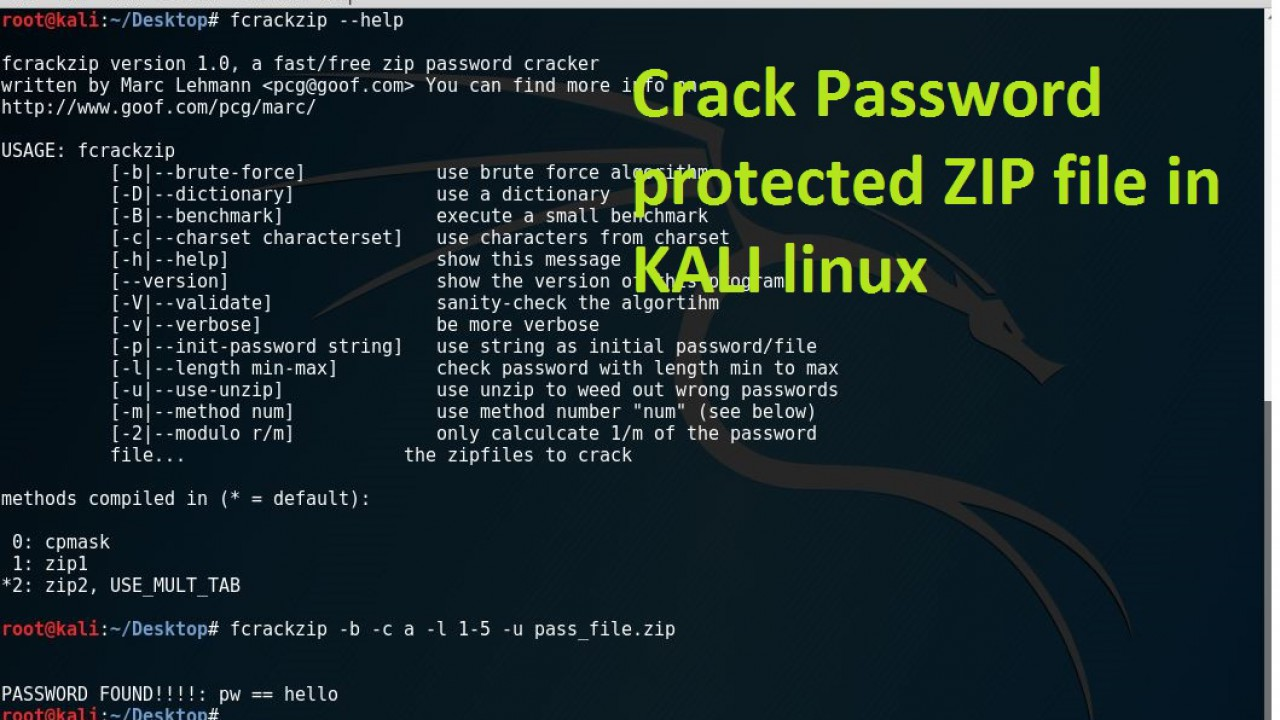 How to crack a password protected ZIP file in KALI Linux